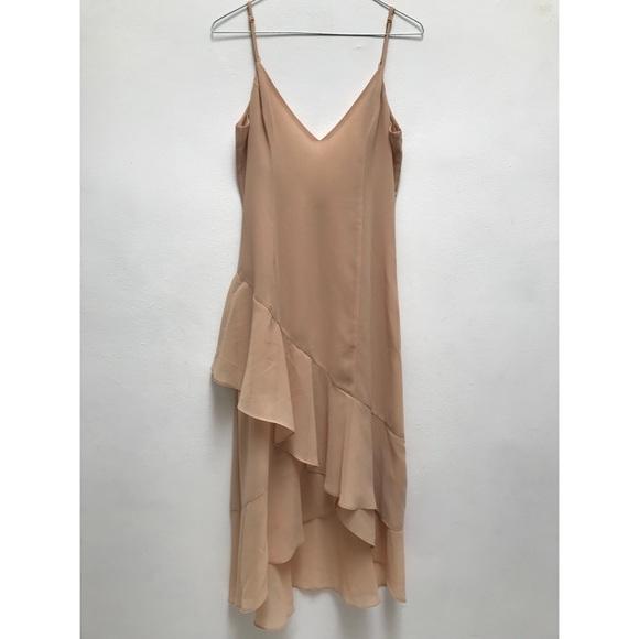 Honey Punch Dresses & Skirts - Nude Ruffle Midi Dress Sleeveless Low Back